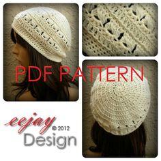 PDF Crochet Hat Pattern Womens Basketweave Slouchy by eejaydesign $6