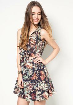 SOMETHING BORROWED Printed Sleeveless Fit And Flare 印花連身裙