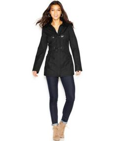 Laundry by Design Faux-Leather-Trim Hooded Toggle-Front Jacket