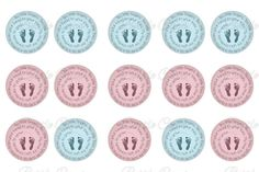 "#DIY Jewelry ""Ten Little Fingers Ten Little Toes"" pink & blue  Bottle Cap Images INSTANT DOWNLOAD $2"