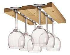 Sturdy Wooden Wine Glass Rack Holder Organizer Storage -under Cabinet Mounted