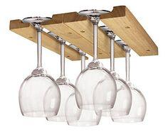 Sturdy Wooden Wine Glass Rack Holder Organizer Storage -under Cabinet Mounted