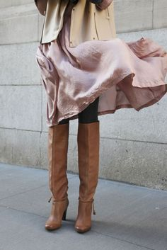 love the pink & beige. and the boots.