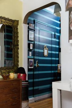 New York Studio Apartment Tour: A Small, Colorful Home New York Studio Apartment, Apartment Living, Apartment Therapy, Studio Apt, Painted Interior Doors, Best Laminate, Farmhouse Side Table, Cute Dorm Rooms, Decorating With Pictures