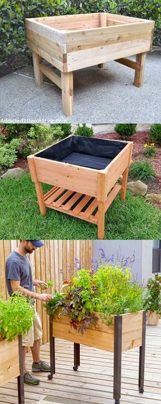 28 most amazing raised bed gardens, with different materials, heights, and many creative variations. Great tutorials and ideas on how to build raised beds ! A Piece of Rainbow garden planters 28 Amazing DIY Raised Bed Gardens Raised Vegetable Gardens, Raised Gardens, Vegetable Gardening, Raised Flower Beds, Building A Raised Garden, Raised Planter, Backyard Garden Design, Backyard Ideas, Diy Garden Table