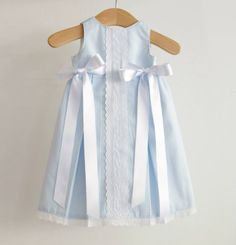 Blue gingham dress w/ribbons & LaCe ! Baby Outfits, Little Dresses, Little Girl Dresses, Kids Outfits, Girls Dresses, Baby Dresses, Dress Girl, Little Girl Fashion, Kids Fashion