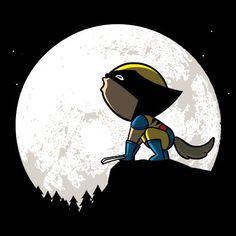 'Howling Wolf' Funny Super Hero Comic Parody w/ Moon - Vinyl Sticker