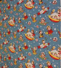 Michael Miller Retro Rascals fabric by NicePomPoms on Etsy