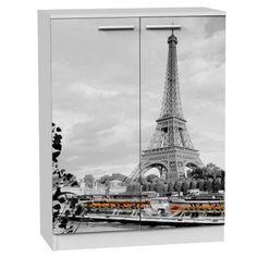 Bonito Armario Zapatero con elegante impresión para los amantes de París con un barco por el ría Sena y de fondo la impresionante Torre Eiffel. Os ofrecemos este elegante zapatero que puedes poner en cualquier espacio de tu hogar dando ese estilo que estas buscando.