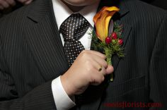 An excited junior groomsman shows off his calla lily boutonniere Calla Lily Boutonniere, Groomsmen, Bride, Cute, Party, Flowers, Wedding, Fashion, Wedding Bride