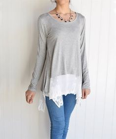 Take a look at this Gray & White Lace-Trim Asymmetrical Tunic on zulily today!