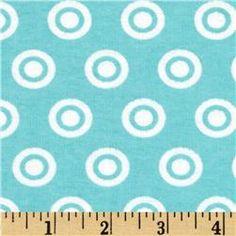 Alpine Flannel Basics Circle Dots Aqua/White