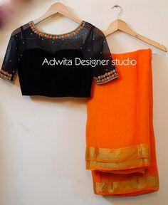 Cotton Saree Blouse Designs, Silk Saree Blouse Designs, Fancy Blouse Designs, Saree Blouse Patterns, Designer Blouse Patterns, Blouse Neck Designs, Blouse Styles, Design Patterns, Blue Silk Saree