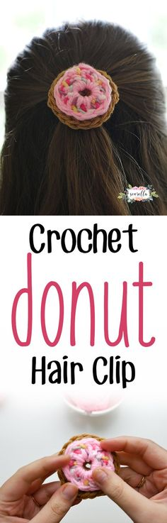 Crochet this cute, quick donut hair clip! Use as an applique for all sorts of projects, or clip to hair, shoes, or a bag! Free pattern!