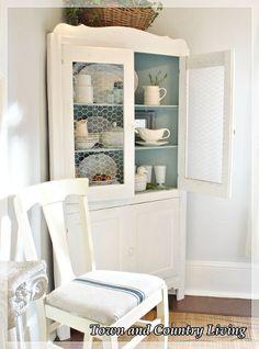 Replacing Glass In A Cabinet With Chicken Wire. Corner HutchCorner Cabinets Corner ShelvesKitchen ...
