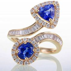 Sapphire and Diamond Ring Set In Unique Yellow Gold