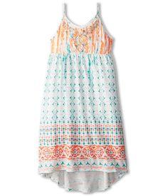 Lucky Brand Kids Girls' Print/Embro V-Neck Knit Dress (Little Kids)