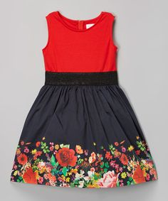 Look what I found on #zulily! Red Floral A-Line Dress - Girls by Blush by Us Angels #zulilyfinds