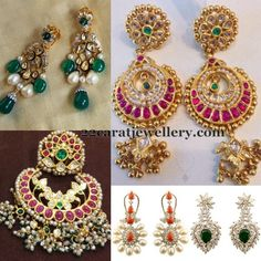 Jewellery Designs: Diamond and Kundan Large Earrings