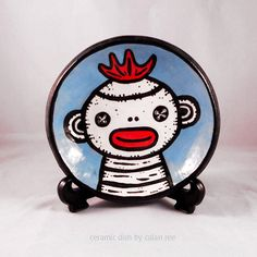 Ceramic Sock Monkey Dish  Shallow Bowl  Hand built  by calanree, $28.00
