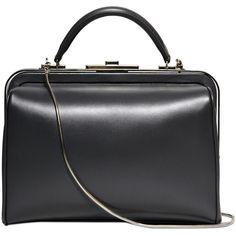 GIORGIO ARMANI Chemist Shiny Leather Top Handle Bag ($2,895) ❤ liked on Polyvore featuring bags, handbags, borse, grey, gray handbags, giorgio armani bags, leather top handle bag, grey bag and gray purse