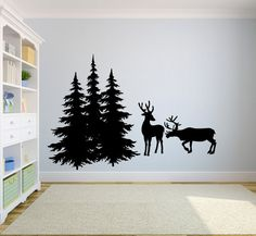 Deer and Pine Trees Vinyl Wall Decal Sticker Graphic