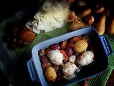 Frittomisto: cucina ed emozioni: Patate al forno con cipolline, uva, albicocche e n...