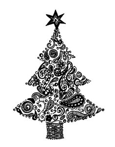 Zentangle+Patterns+for+Beginners | simple Christmas tree tutorial