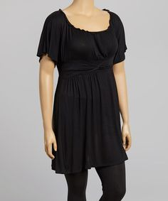 Black Ruched Angel-Sleeve Top - Plus by Poliana Plus #zulily #zulilyfinds