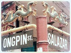 Ongpin Street Salazar Dragons Sign Binondo Chinatown Manila Philippines Asia Market Street Food Travel Culture