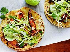 Cooking Light's Ancho Chicken Tacos with Cilantro Slaw and Avocado Cream Recipe on Yummly