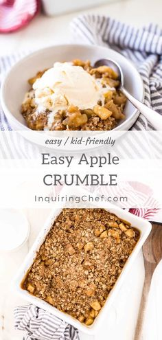 Sep 2019 - One of the best desserts is easy apple crumble. This kid-friendly dessert is filled with tender, caramelized apples and topped with a sweet oat topping. Apple Crumble Recipe Easy, Apple Crumble With Oats, Apple Recipe Easy Healthy, Desserts For A Crowd, Easy Desserts, Dessert Recipes, Cupcake Recipes, Caramelised Apples, Crumble Topping