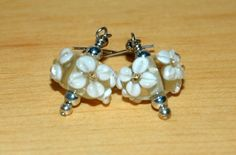 White and Yellow Lampwork Earrings by SeasonsJewels on Etsy