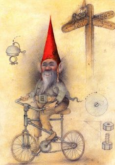 Made by: Wayne Anderson , illustration - (Cycling, Biking) Wayne Anderson, Fantasy Dwarf, Baumgarten, Elves And Fairies, Forest Creatures, Modern Artists, Pixies, Leprechaun, Little People