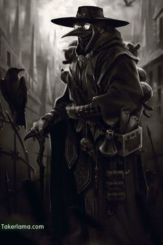 Although the treatment of the plague doctor may be useless, their countless generations of 'disciples' stepped on their corpses and finally conquered the Black Death. Fantasy Character Design, Character Concept, Character Inspiration, Character Art, Concept Art, Steampunk, Dnd Characters, Fantasy Characters, Plauge Doctor