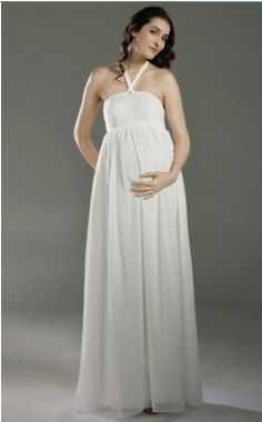 91d3d45e82a3 Click to Buy    Elegant Empire Bridal Dress Halter Chiffon Pleats Maternity  Formal
