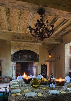 Dinning room with fireplave in the Chateau de Rivau, France French Country House, French Country Decorating, Dining Room Fireplace, Dining Rooms, French Chateau, Elegant Homes, My Dream Home, Decoration, Hearth