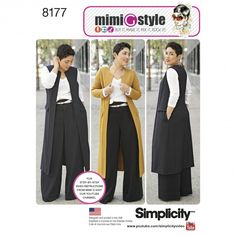 8177 Trust Mimi G to keep you on trend this season. Pattern features a duster length coat or vest, long or short sleeve knit top and wide leg pants with cuff and high waistband. Mimi G Style for Simplicity sewing patterns Pre Fall 2016 Coat Pattern Sewing, Vest Pattern, Coat Patterns, Top Pattern, Clothing Patterns, Dress Patterns, Fall Patterns, Knitting Patterns, Style Patterns