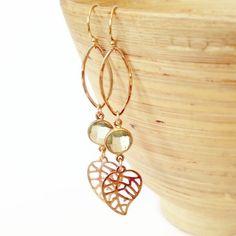 Fall Fashion, Fall Earrings, Autumn Earrings, Autumn, Leaf Earrings with green amethyst, Fall trend Jewelry