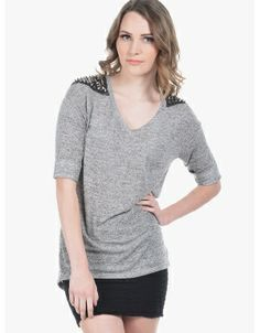 Edged Up Spiked Shoulder Knit Top  Gray