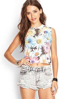 Colorful Daisy Muscle Tee | FOREVER21 #SummerForever #GraphicTee #Floral