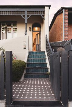 Olde English Tiles' gorgeous tessellated tiled floors can revitalise and transform a tired verandah into a spectacular, welcoming entrance to your home. Tile Steps, Concrete Steps, Terrace House Exterior, House Exteriors, Melbourne House, Melbourne Garden, Melbourne Street, Exterior Tiles, Exterior Paint