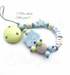 """attache tétine personnalisée perles en bois ~ modèle renard Ciel """"Télio"""" : Puériculture par mon-attache-tetine-perso"""