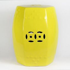 17inch Yellow 6 Sided Ceramic Garden Stool
