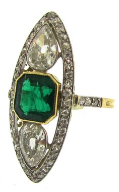 Edwardian Emerald and Diamond Navette Ring