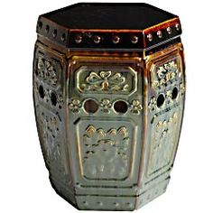 Like most ceramic garden stools, ours can serve as extra outdoor seating, end table or plant stand. Unlike most ceramic garden stools, it's covered with an intricately embossed design and novel glaze that makes it beautiful enough for indoor use. Embossed Garden Stool peir1.com