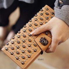 skull wallet cowhide leather womens leather wallet women