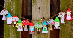 Smart-Bottom Enterprises: Gnome and Mushroom Banner Craft Kit--Bet I could easily replicate this.