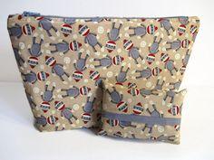 Make Up Pouch Set Sock Monkey Fabric Zipper Bag by PBJKreations