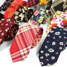 Newest Floral 100% Cotton Ties for Men 5.5 width Narrow Neckties High Quality Adult Slim Neck Tie Party Accessories Cravat